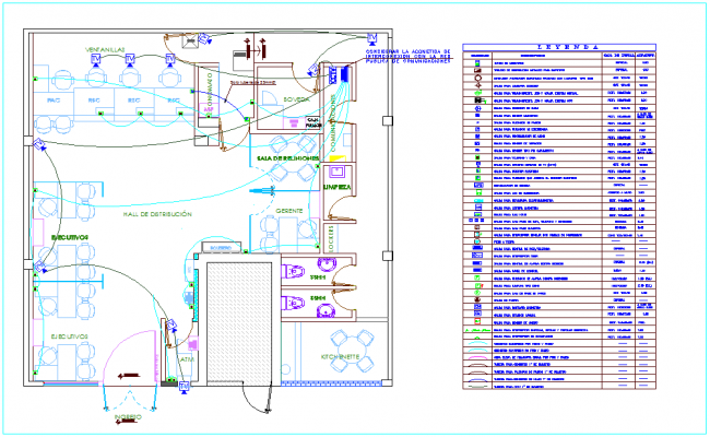 T.V unit electric line view for IIEE office area with its legend dwg file