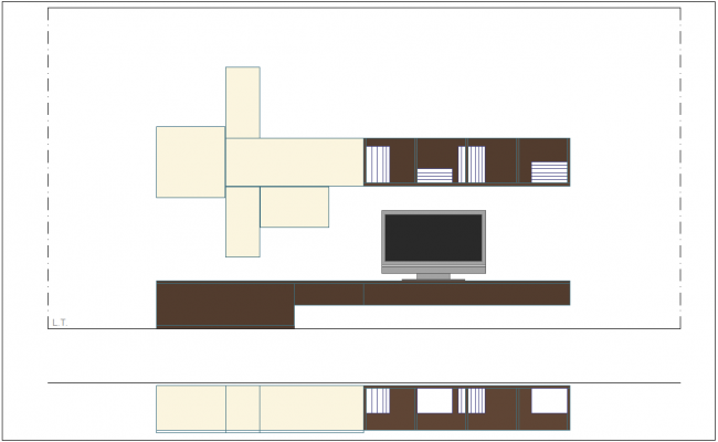 T.V unit view with plan and elevation furniture view dwg file