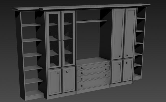 TV Showcase With Drawer,Cabinet, Open Area 3D MAX File Free Download