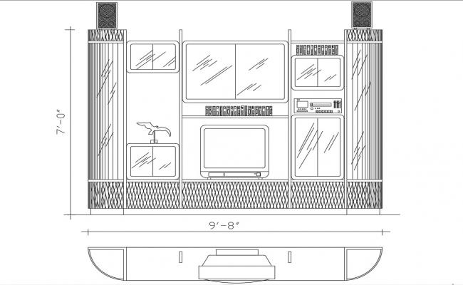 TV Unit Plan And Elevation CAD File Free Download