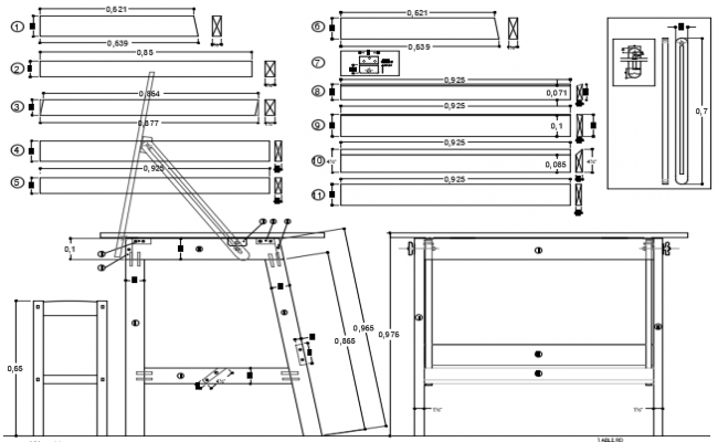 Table plan and elevation detail dwg file