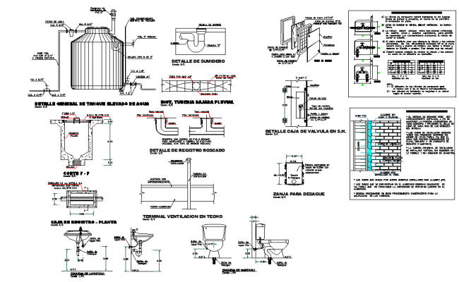 Tank elevation and section detail autocad file