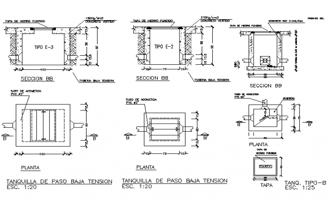 Tank flow section detail dwg file