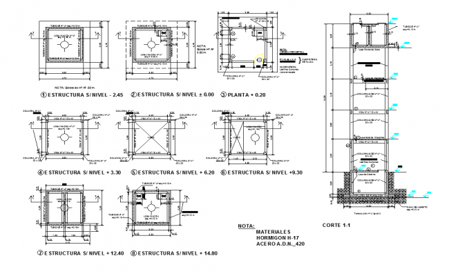 Tank plan and elevation detail dwg file