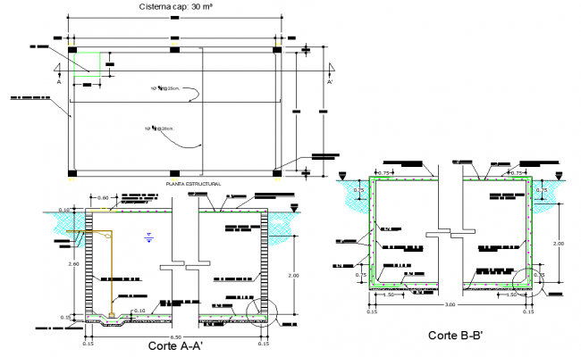 Tank plan and section autocad file