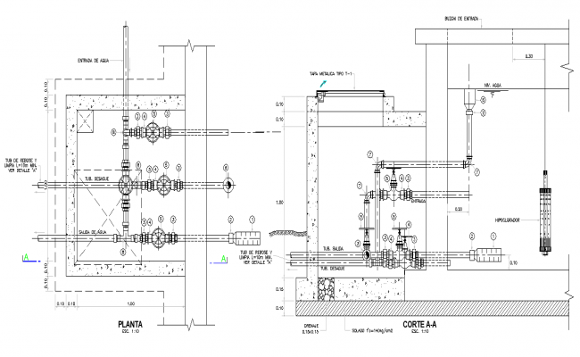 Tank plan and section detail dwg file