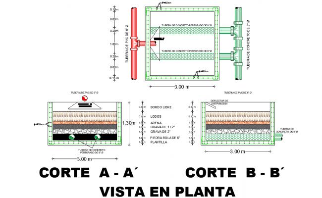 Tank plant view detail dwg file