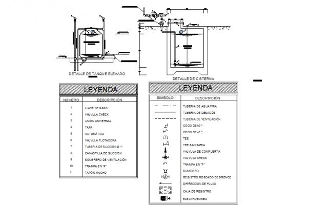 Tank plumbing detail dwg file