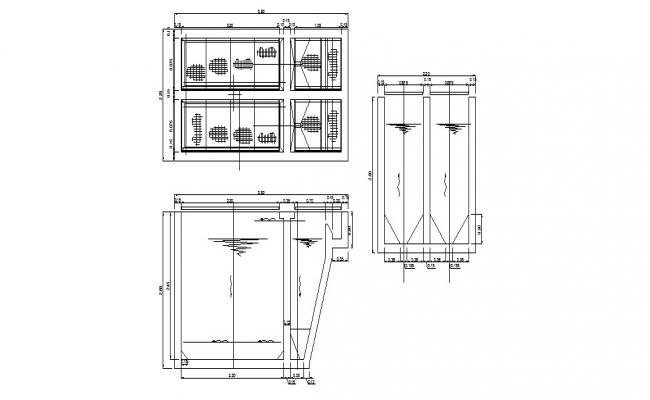 Tank reactor and water tank details of hospital dwg file