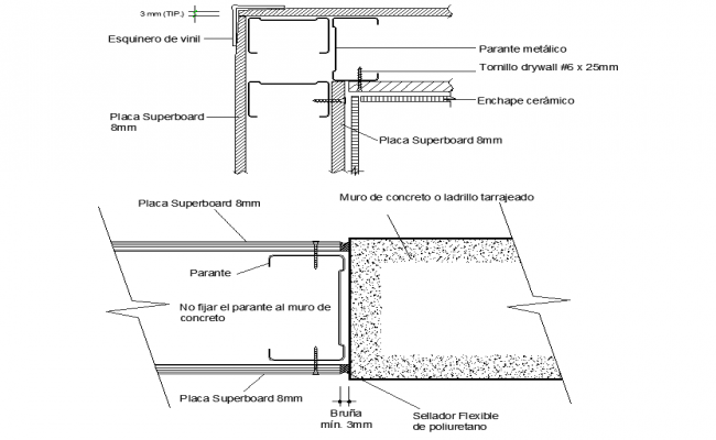 Tarred concrete or brick wall detail dwg file