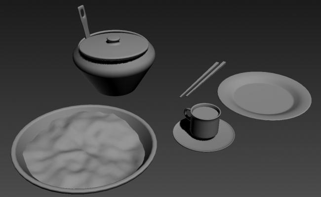 Tea Cup Soup Vessel Chopsticks In 3D MAX File Free