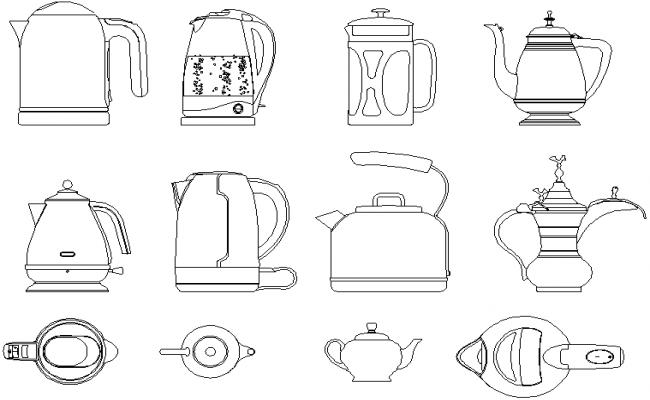 Teapot kettle view detail dwg file