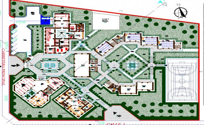 Technology institute landscaping, elevation and structural details dwg file