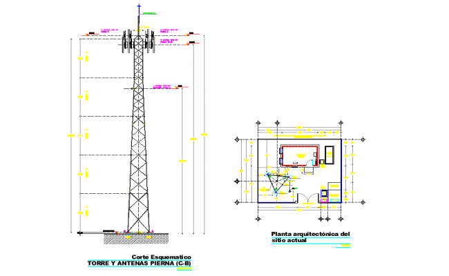 Tele communications tower autocad file