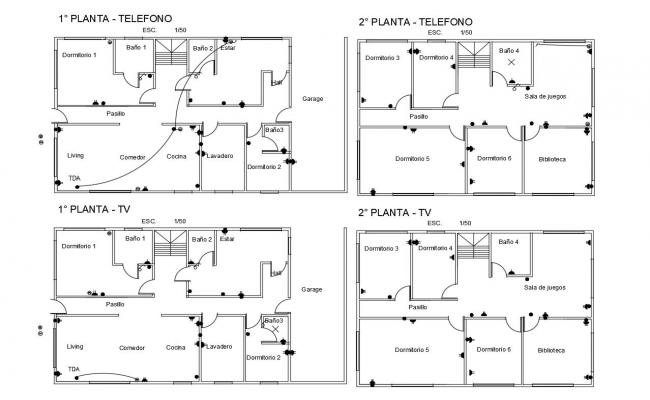 Telephone and T.V electric line view of house dwg file
