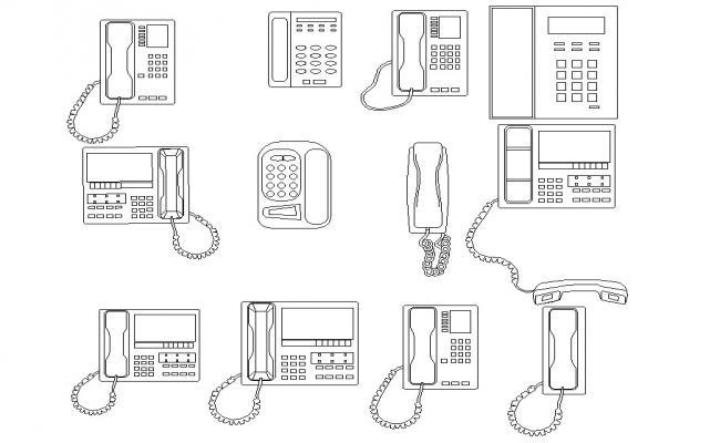 Telephone blocks elevation dwg file
