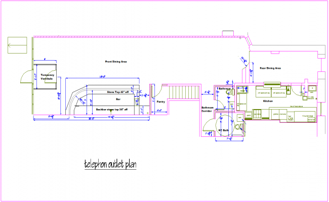 Telephone outlet plan for office dwg file