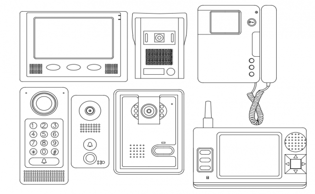 Telephone plan with its electrical attachment dwg file