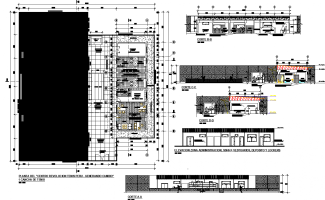 Tennis court plan detail dwg file.