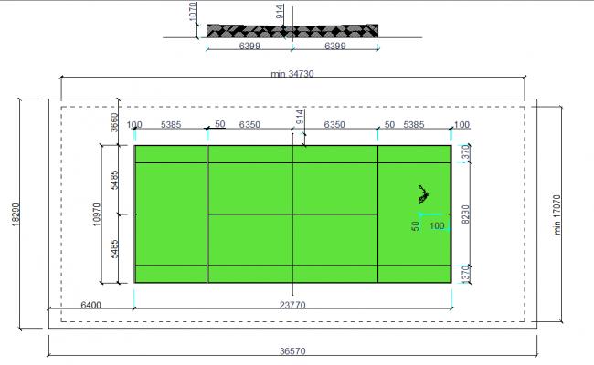 Tennis court plan dwg file