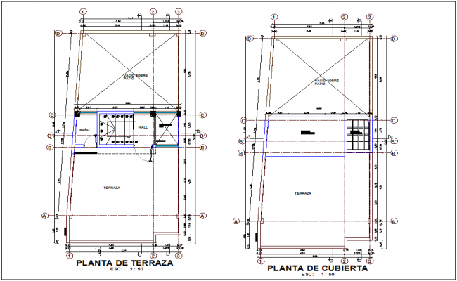 Terrace and cover plan of office dwg file