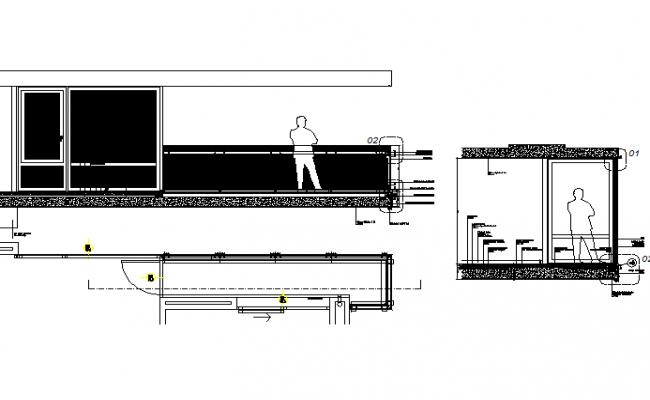 Terrace balcony details plan detail dwg file