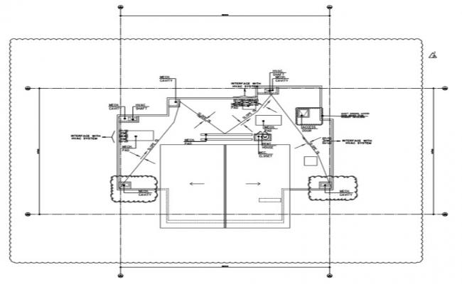 Terrace floor plan of villa with the detail of fire alarm system.