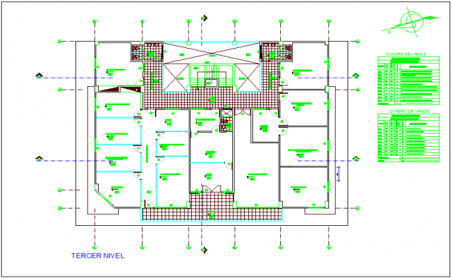Terrace plan of government municipal building dwg file