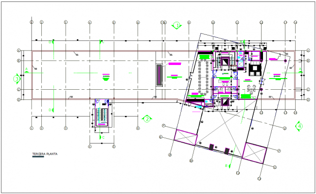 Terrace plan of municipal building dwg file