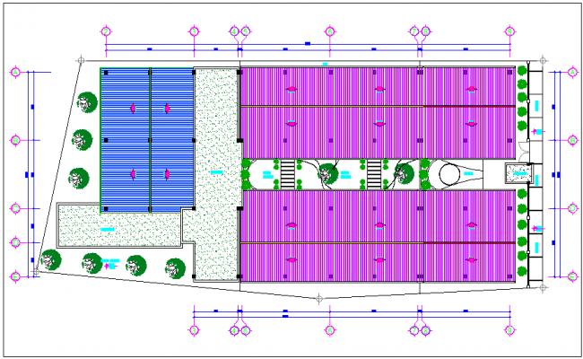 Terrace plan of school dwg file