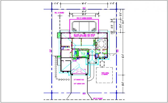 Terrace view of plan detail dwg file