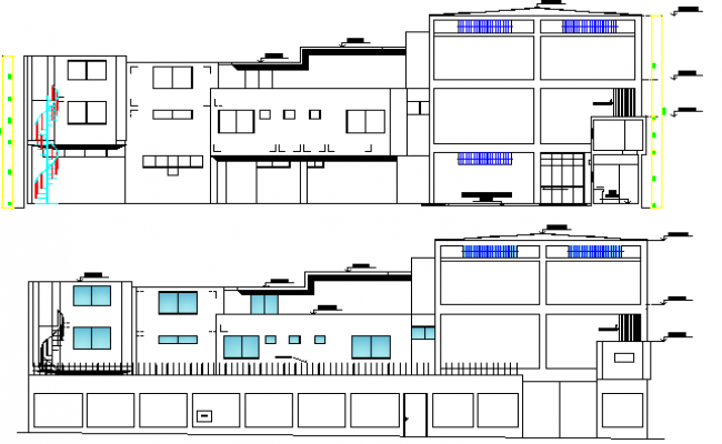 Textile Factory Architecture Section Plan dwg file