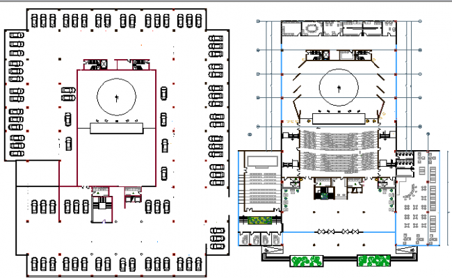 The Architecture Design of Auditorium Hall with Three Floors dwg file