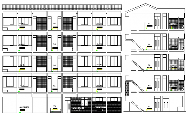 The Architecture Design of College Elevation Details dwg file