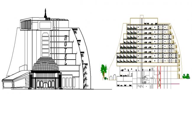 The Architecture Design of Hotel Design dwg file