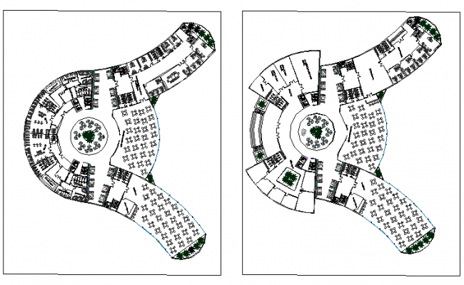 The architecture hotel layout plan dwg file