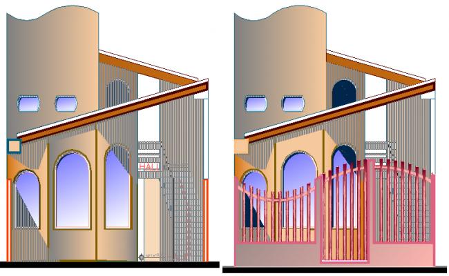 The Architecture Design of Kinder Garden Elevation dwg file