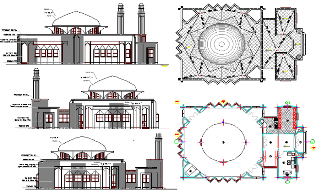 The Architecture Layout Plan Of Iranian Mosque Elevation Dwg File