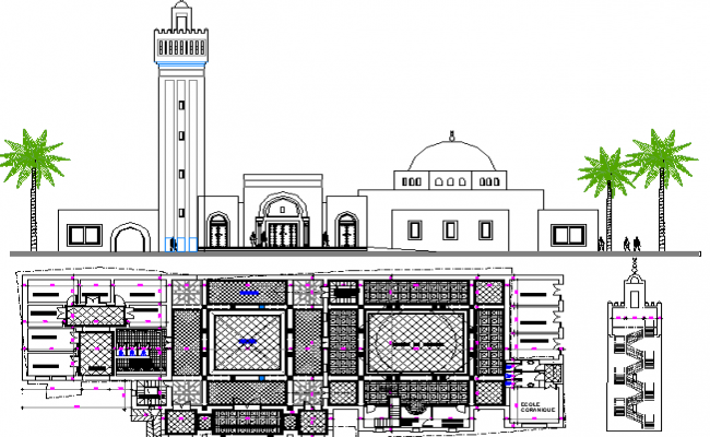The Architecture Layout Plan of Turkish Mosque Elevation dwg file