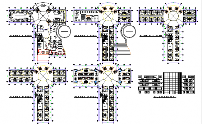 The Architecture Layout of Hotel with Plan and Elevation dwg file