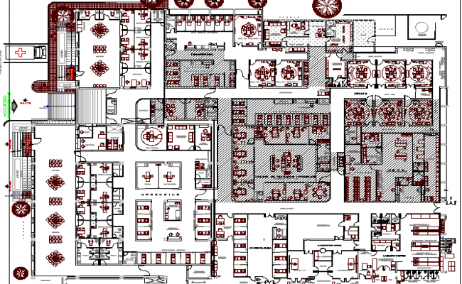 The Architecture Plan of General Hospital Elevation dwg file