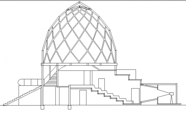 The Architecture Plan of Glass Pavilion Elevation dwg file