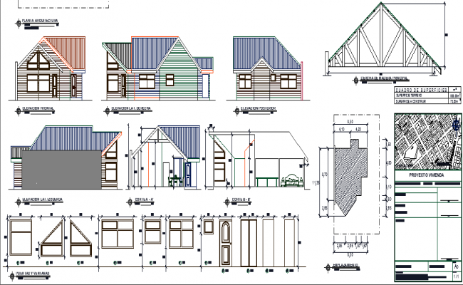 The Detailed Plan of House Elevation dwg file