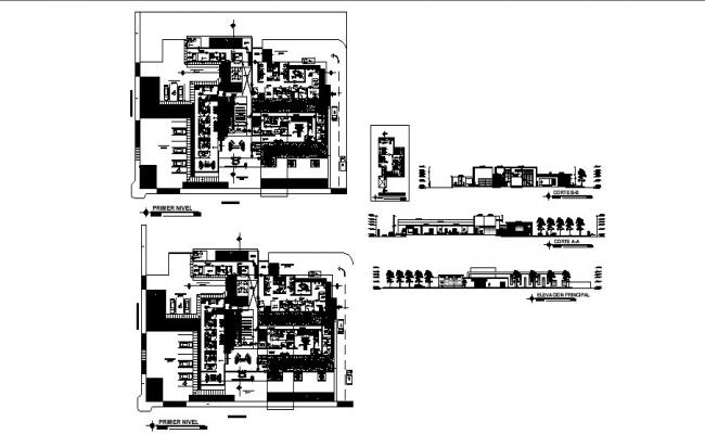 The architectural design of hospital with section and elevation in AutoCAD