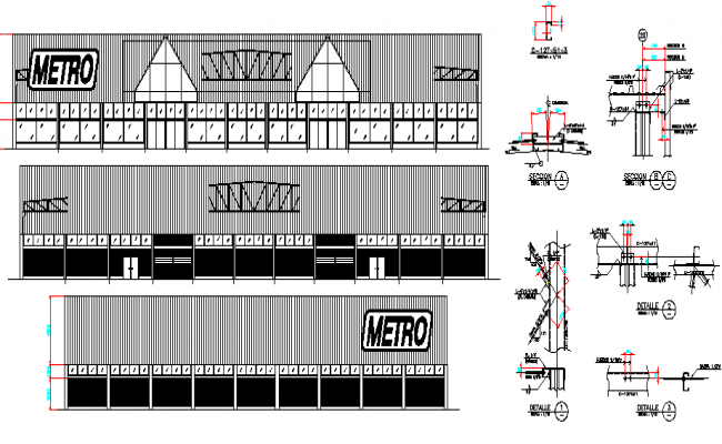 The architecture project of commercial building in steel dwg file