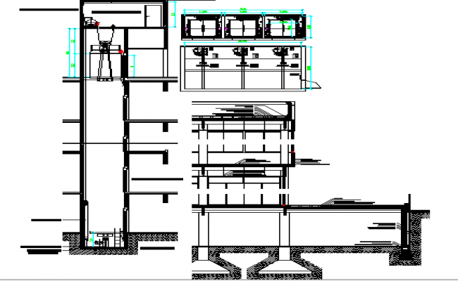 The architecture project of corporate office building dwg file