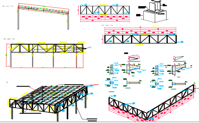 The architecture project of industrial warehouse dwg file