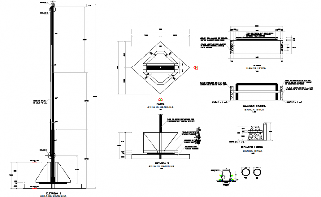 The architecture project of mast flag design dwg file