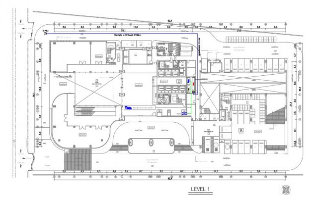 The corporate building proposed transmission routing layout.