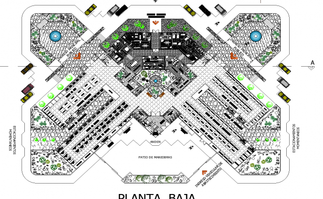 The layout of an urban market plan detail dwg file.